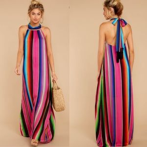 Judith March rainbow stripe halter maxi dress